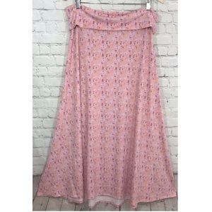 LuLaRoe Maxi Skirt Pink Print Stretchy Knit A-Line